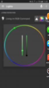 Screen shot of the mobile UI - OpenHab Color picker